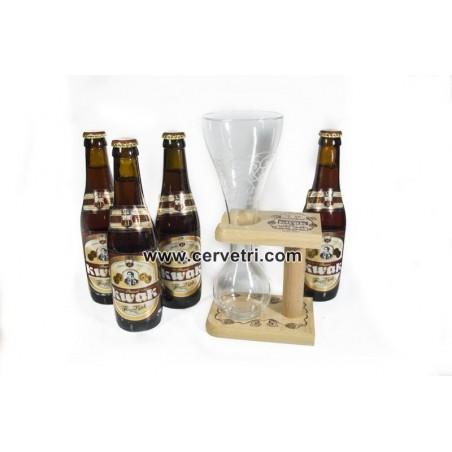 Cuatro cervezas Kwak 33 cl. + copa y soporte madera