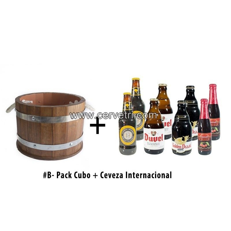 Cubo/barril enfriador de cervezas  de madera mediano + 8 cervezas especiales Internacionales 33 cl.