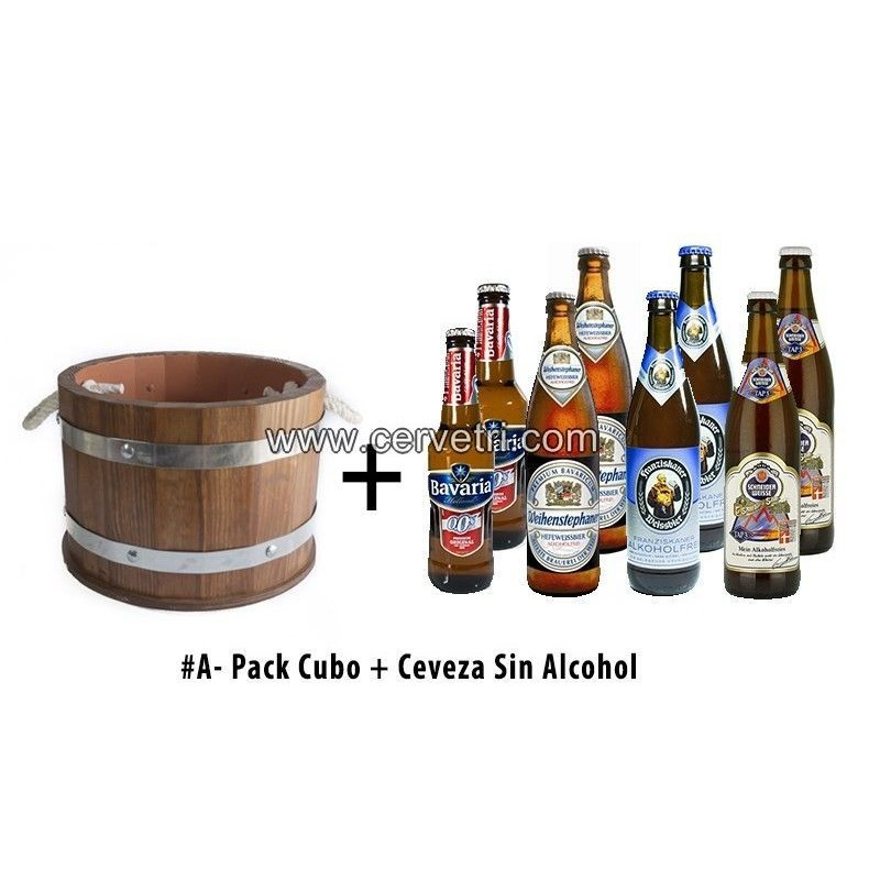 Barril / Cubo de cerveza enfriador de madera con 8 cervezas del mundo sin alcohol