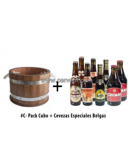 Cubo de cerveza de 15 L. de madera + 8 cervezas Belgas.
