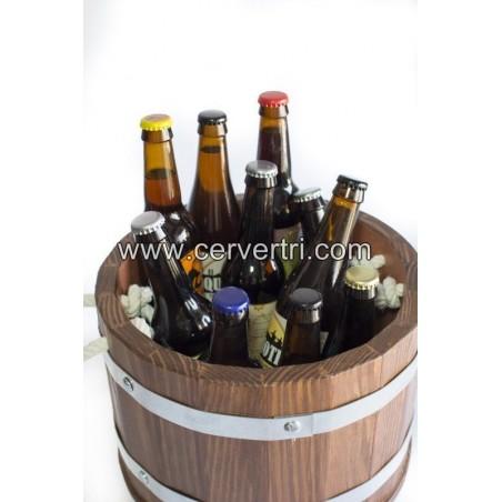 Cubo/barril enfriador de cervezas  de madera mediano + 8 cervezas especiales.