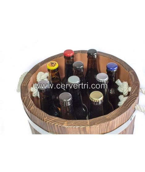 Barril / Cubo de cerveza enfriador de madera con 8 cervezas especiales sin alcohol