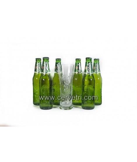 Pack 6   cervezas Carlsberg 33 cl.+ vaso