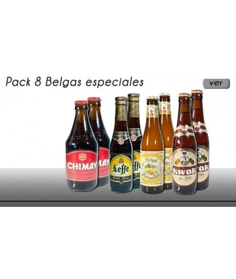 Pack 8 cervezas especiales belgas en botella de 33 cl.