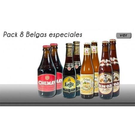 Pack 8 cervezas especiales belgas en botella de 33 cl.