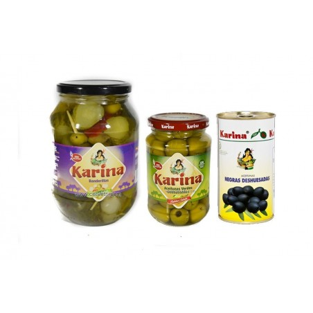 Pack Aceitunas verdes-Negras y Coctkail Karina