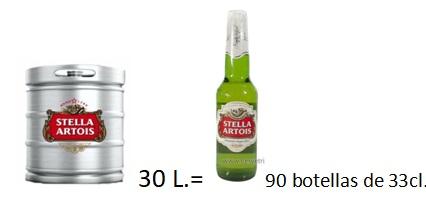 Barril Cerveza Stella Artois 30 L.